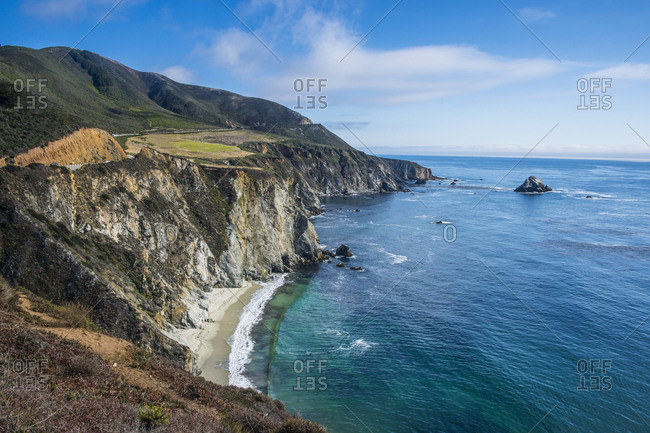 USA- California- the rocky coast of the Big Sur near Bixby Bridge