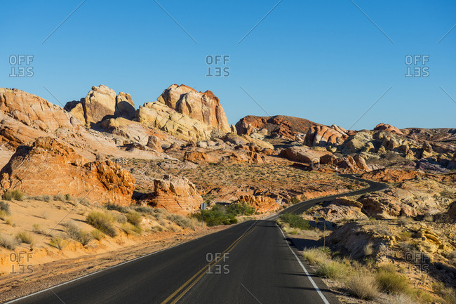 USA- Nevada- Valley of Fire State Park- Empty road