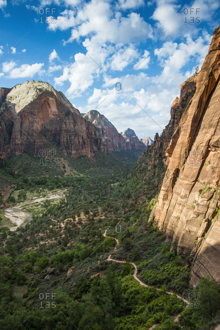 USA- Utah- Zion National Park- Overlook over the cliffs and the Angels Landing path