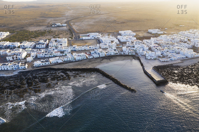 Spain- Canary Islands- Lanzarote- Caleta de Famara- aerial view