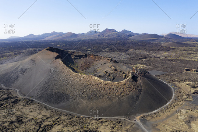 Spain- Canary Islands- Lanzarote- Timanfaya National Park- Cuervo and Montana de las Lapas