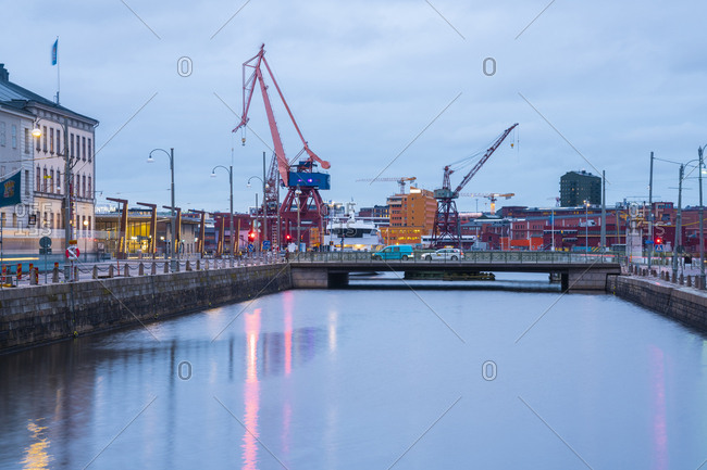 March 5, 2019: Sweden- Gothenburg- city center with historic harbor
