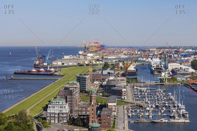 May 9, 2018: Germany- Bremen- Bremerhaven- New Harbor- Weser dike