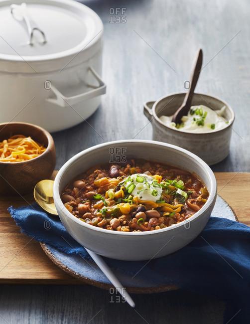 Bowl of sweet potato chicken chili