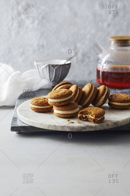 Earl grey cookies and tea on marble