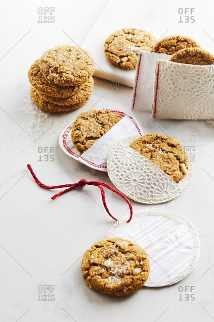 Overhead view of ginger cookies packaged as holiday gifts