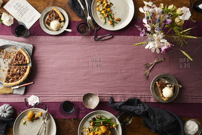 Overhead view of modern styled thanksgiving table spread