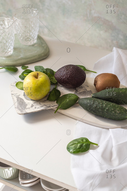 Fresh ingredients, recipe of Green smoothies. Concept of diet, cleansing the body, healthy eating