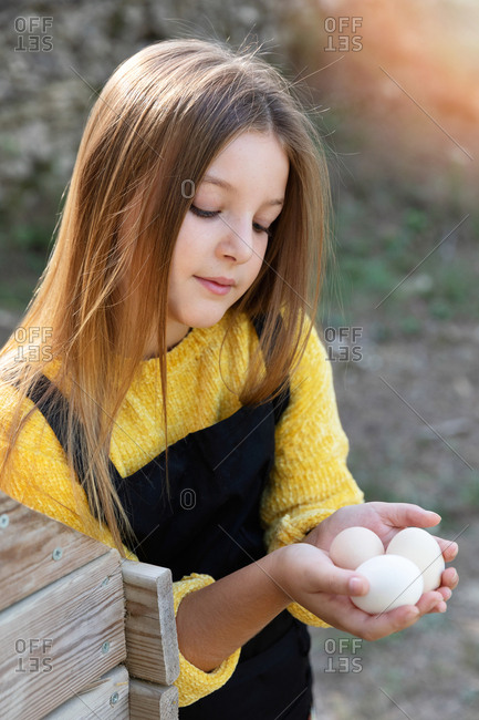 Girl taking fresh chicken eggs from nest wearing an apron on sunny day on farm