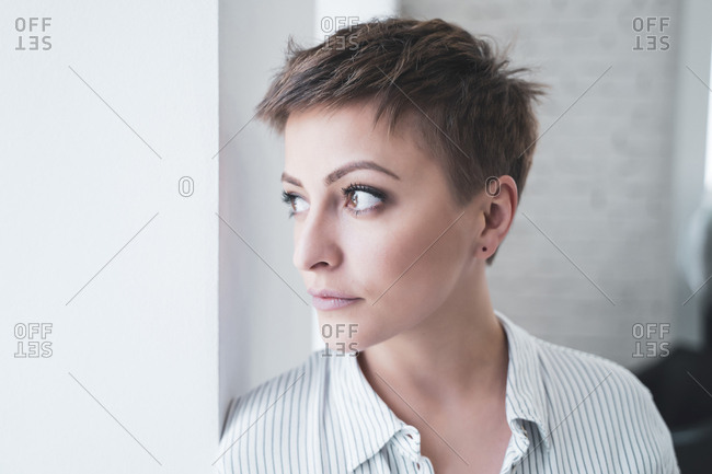 Girl posing after cutting her hair