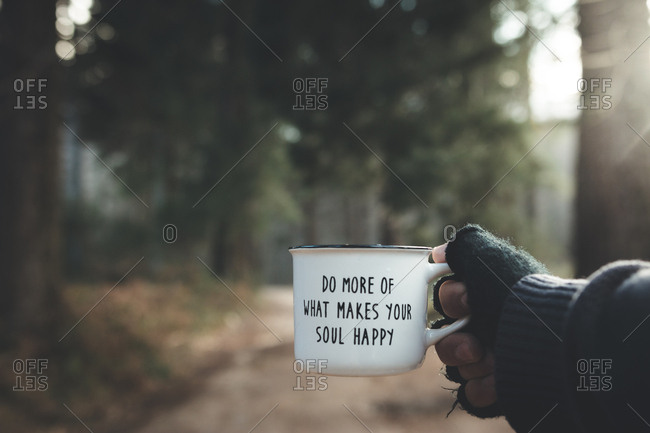 Hand of anonymous traveler holding metal mug with inspirational quote on blurred background of forest on sunny day