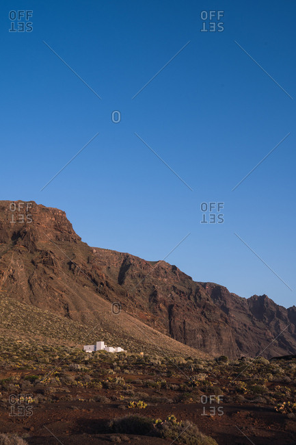 Mountain on background of blue sky