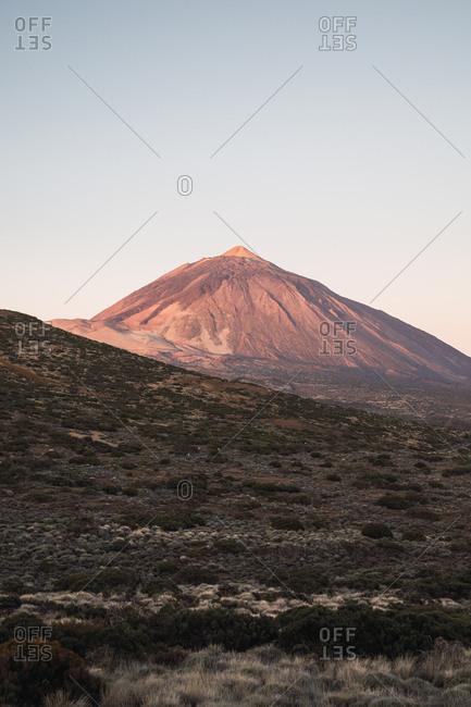 Mountain peak in desert valley