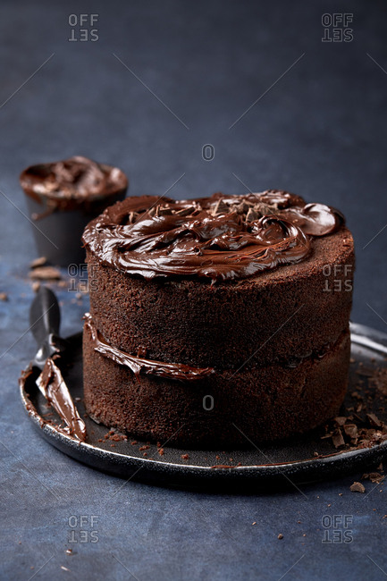Two tier chocolate cake with chocolate shavings on a moody background.