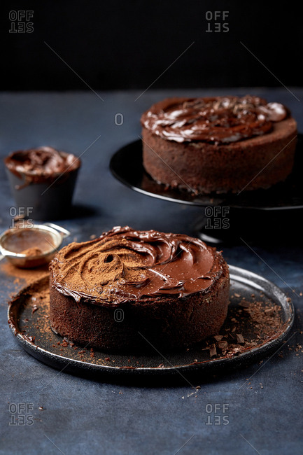 Cocoa powder on top of chocolate cake.