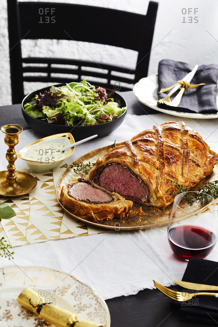 Beef wellington served on the dining table
