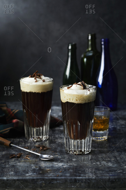 Two glasses of classic irish creme coffee