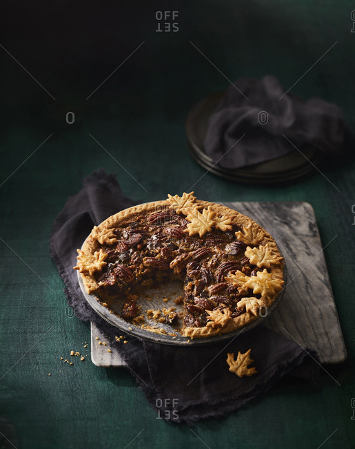 Pecan pie missing a slice