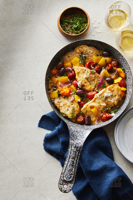 Skillet with Tuscan chicken