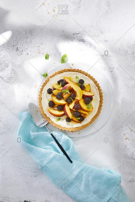 Overhead view of a fruit tart