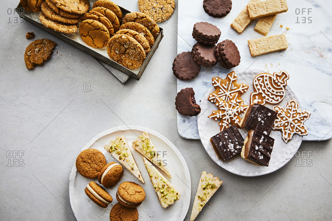 Overhead view of a variety of cookies