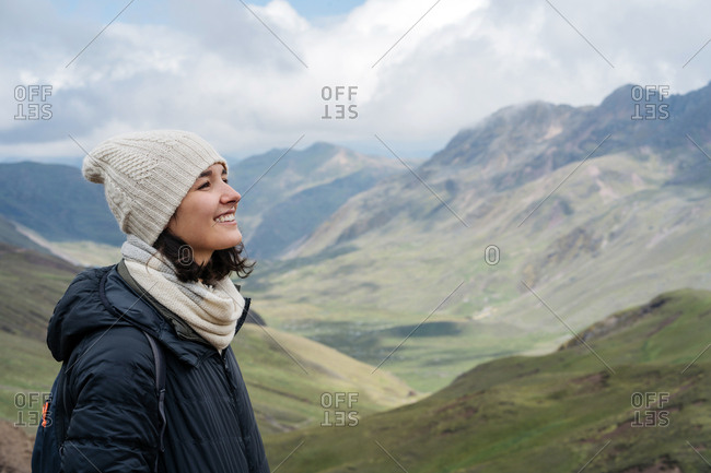 Young Hip Woman Exploring The Andes Mountains.