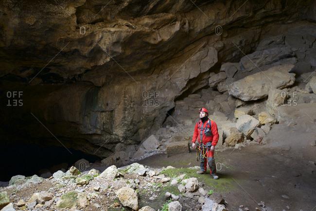 Spelunker in Cat Cave, Spain.