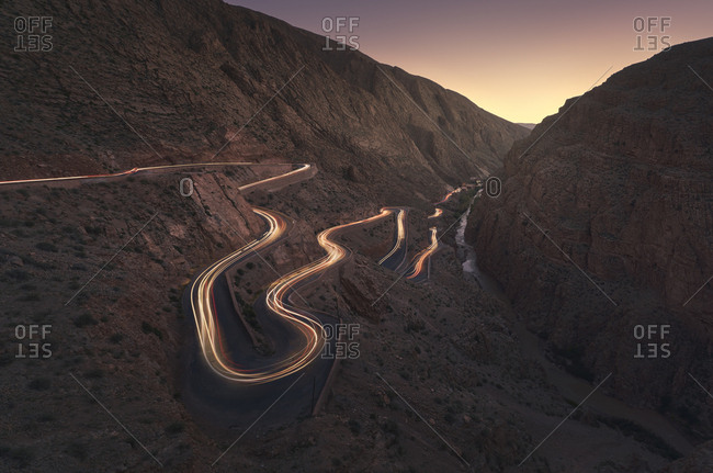 Morocco, Dades Gorges, sandstone and limestone rocks, light trails of