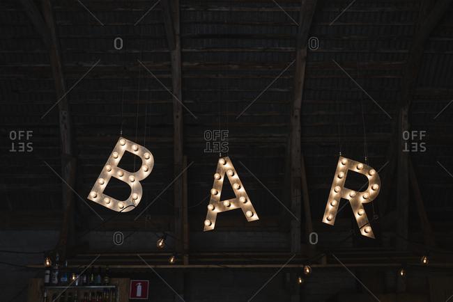 Illuminated bar sign