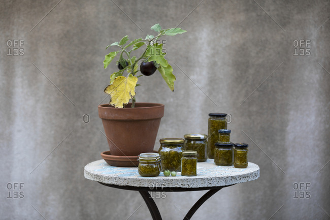 Pickles in jars on table