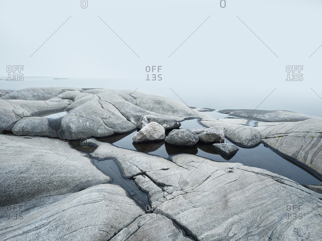 Rocky coast on gloomy day