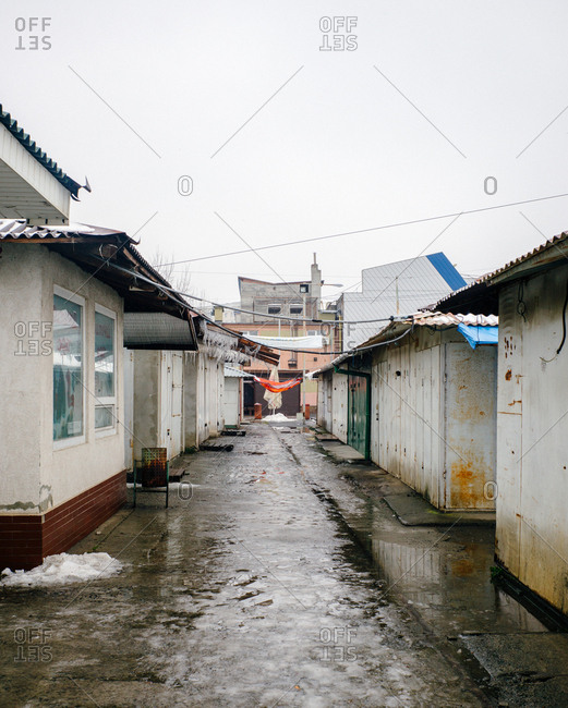 Ukraine - May 17, 2019: Residential street in a Ukrainian city