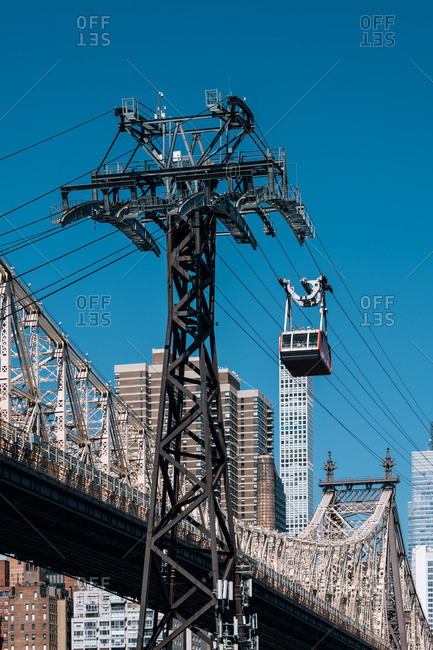 New York City - USA - May 15 2019: Queensboro bridge and tramway of Manhattan midtown on Roosevelt Island
