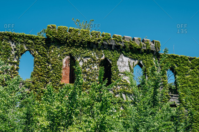 New York City - USA - May 15 2019: Roosevelt Island Smallpox Hospital Ruins