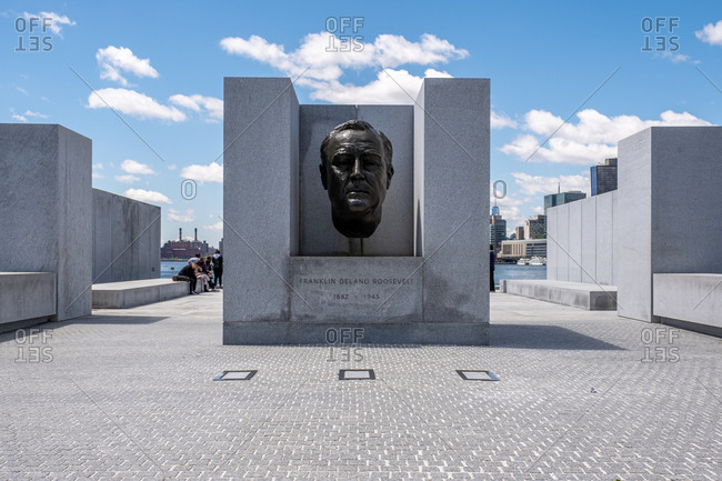 New York City - USA - May 15 2019: Franklin D. Roosevelt Four Freedoms Park on Roosevelt Island