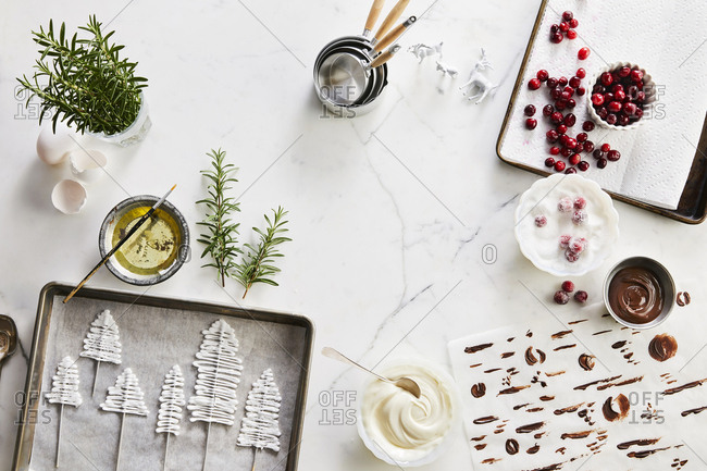 Overhead view of unique decorations for winter holiday desserts
