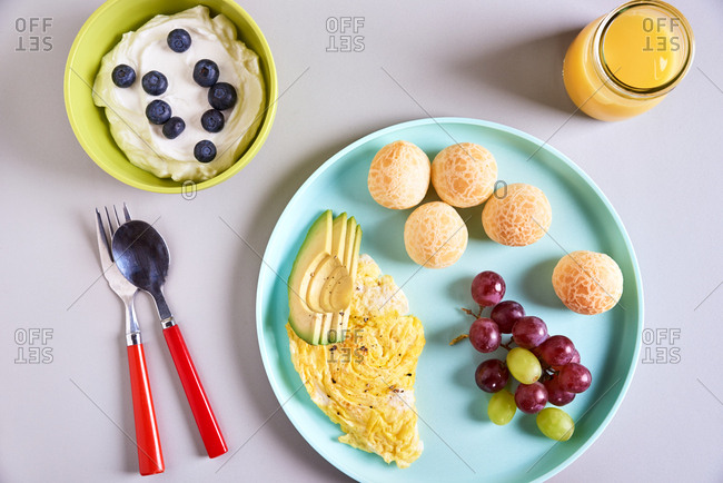 Overhead view of a child's breakfast