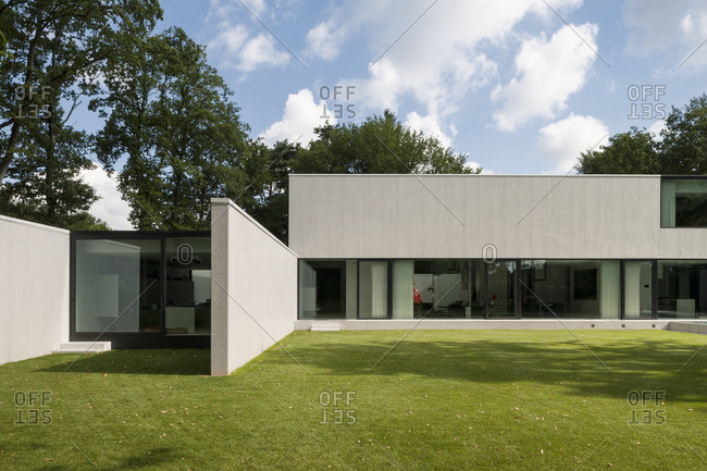Belgium - August 13, 2013: Exterior of modern home under cloudy sky