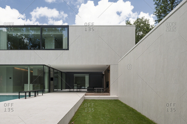 Belgium - August 13, 2013: Contemporary home exterior with swimming pool