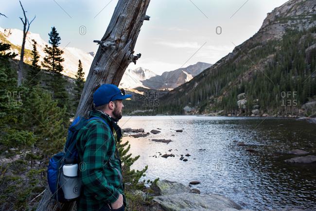 Man looking at mountains