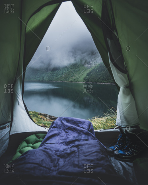 Wake up views from the tent of Oo lake in France on a moody morning