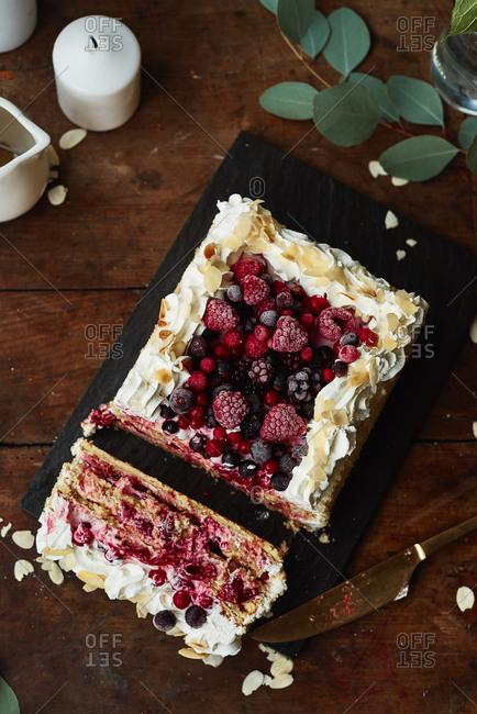 Raspberries and blackberries fruit cake