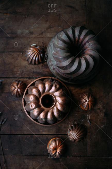 Rustic old cake baking pans