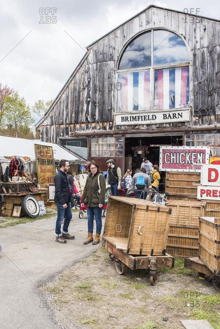 Brimfield, Massachusetts - May 15, 2019: Vendors at the Brimfield Antique Market