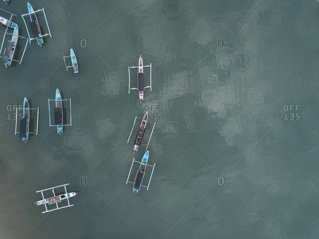 Aerial view of boats in the sea near Lombok, Indonesia