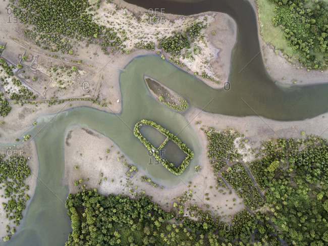 Aerial view of a tropical river, Sumbawa, Indonesia