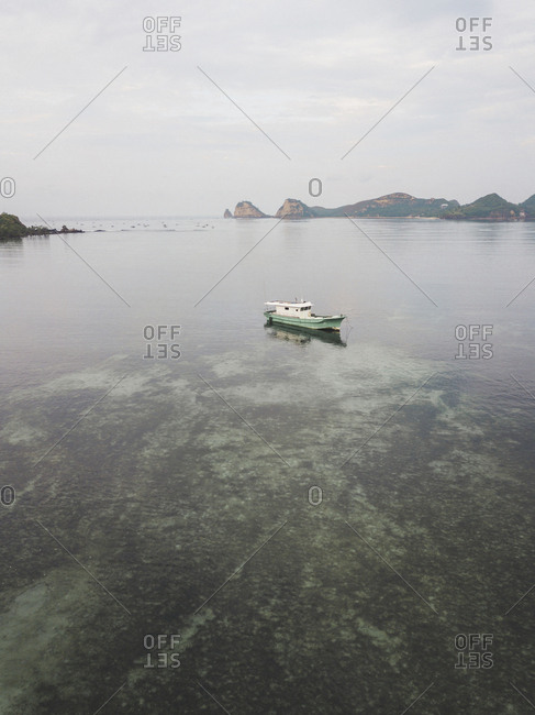 Aerial view of boat, Lombok, Indonesia