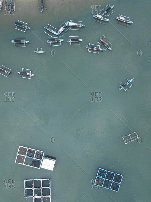 View from above of banca boats in the ocean, Lombok, Indonesia