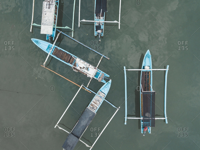 Banca boats from above, Lombok, Indonesia
