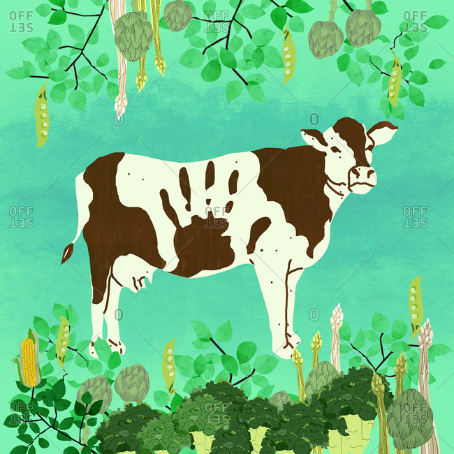 Cow surrounded by vegetables with hand signal stop sign pattern on hide